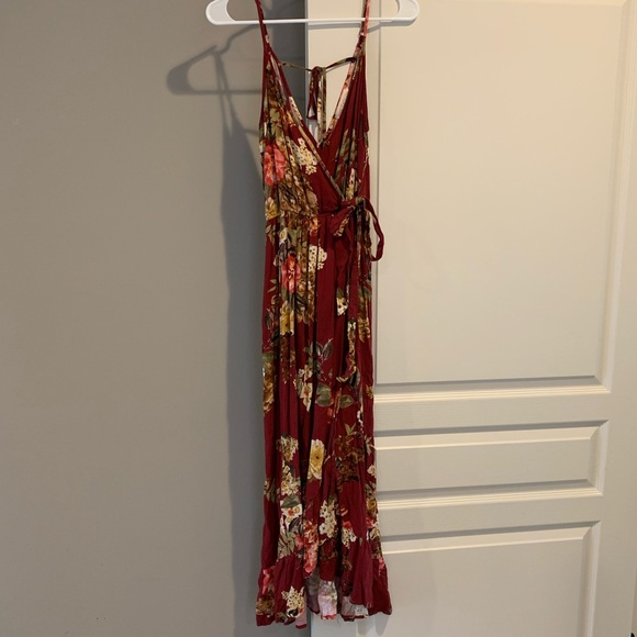 82ec832773 Long red floral dress